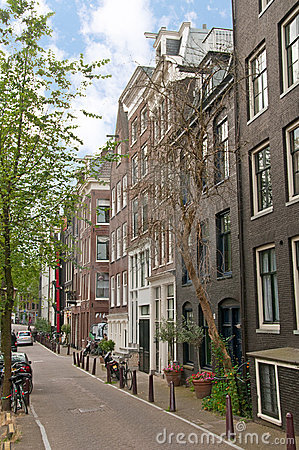 Amsterdam street with historical buildings