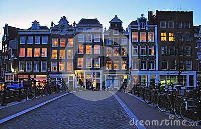 Amsterdam street at night Editorial Stock Photo