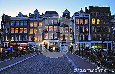 Amsterdam street at night Editorial Stock Photo