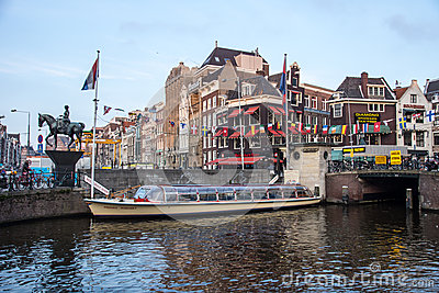 Amsterdam Tour Boat Editorial Photography