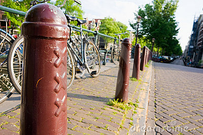 Amsterdam, xxx street Pillar and bike.