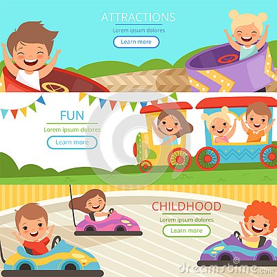 Amusement park banners. Family and happy kids walking and playing games in different attractions vector cartoon template Vector Illustration