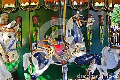 Amusement park carousel horses