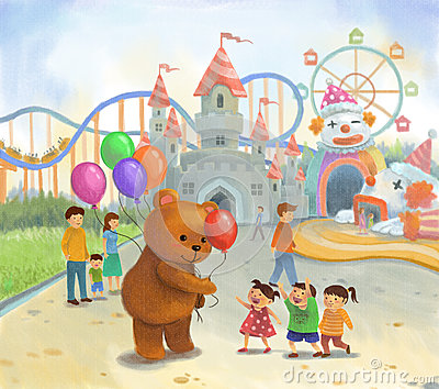 Amusement park for children in pastel color on canvas style