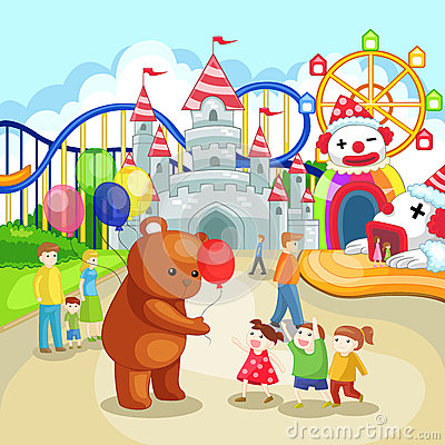 Amusement park for children in summer holiday (vec