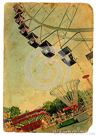 Amusement park, a Ferris wheel. Old postcard