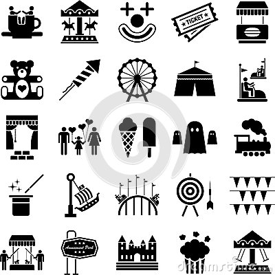 Free Amusement Park Icons Royalty Free Stock Photo - 25830795