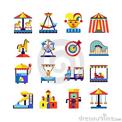 Free Amusement Park Icons Set Stock Images - 63792914