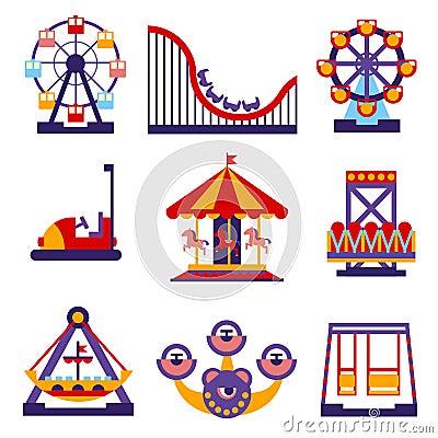 Free Amusement Park Icons Set Of Vector Flat Design Stock Images - 60380824