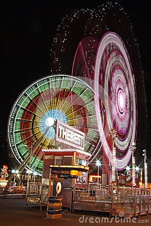 Amusement park by night Editorial Stock Photo