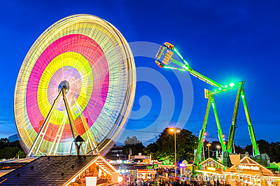 Amusement park at night in Hannover, Germany Editorial Photography