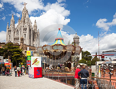 Amusement Park and Temple at Tibidabo Editorial Photography