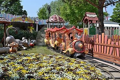 Amusement park train Editorial Stock Photo