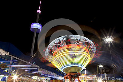 Amusement rides at night