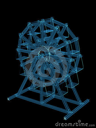 Amusement wheel 3D rendered xray blue