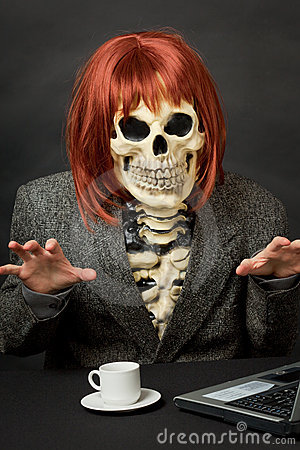 Amusing skeleton with red hair - Halloween