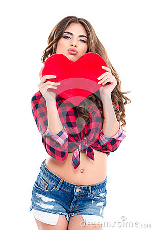 Free Amusing Woman Holding Red Heart And Making Funny Duck Face Royalty Free Stock Images - 65019339