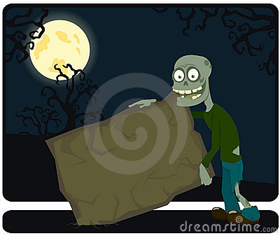 The amusing zombie with the tablet