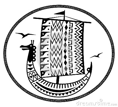 Free An Ancient Scandinavian Image Of A Viking Ship Decorated With An Ancient Pattern With A Dragon Head, Old Norse Runes And Stock Image - 117620931