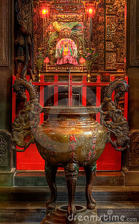 Free An Chinese Incense Burner And God Royalty Free Stock Images - 10512439