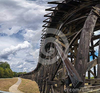Free An Elevated Railroad Track Heading Toward The River Royalty Free Stock Photo - 106302875
