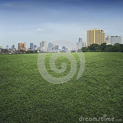 Free An Empty Scene Of Green Grass Field And Office Building City Royalty Free Stock Photo - 48617305