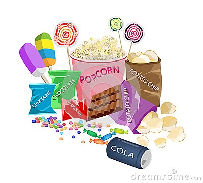 Free An Illustration Collection Of Various Cinema Foods Stock Images - 29783494