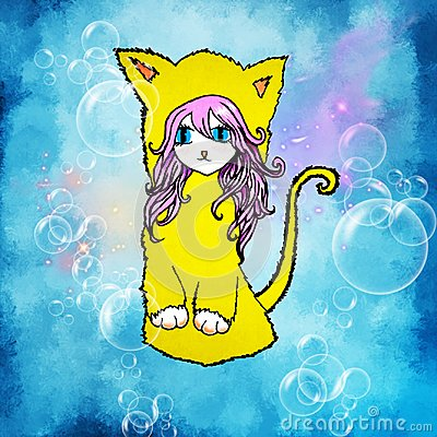 Free An Illustration Of An Anime Girl With Pink Hair, Big Eyes, With Cat`s Ears And A Tail On A Blue Background With Bubbles Royalty Free Stock Photos - 109565298