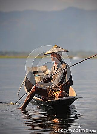 Free An Old  Fisherman On Inle Lake,myanmar Stock Images - 14079814
