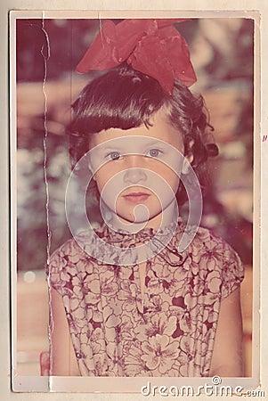 Free An Old Photograph Of A Beautiful Girl. Stock Photos - 49880143