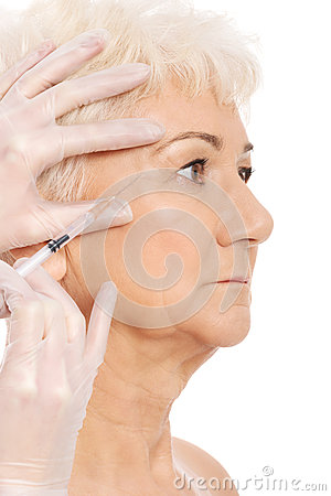 Free An Old Woman Having A Injection- Beauty Concept. Stock Image - 35805391
