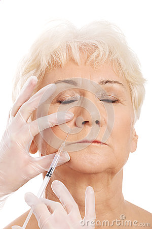 Free An Old Woman Having A Injection- Beauty Concept. Stock Photos - 35805433