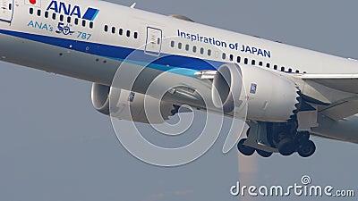 ANA Boeing 787 Abfahrt aus Hongkong stock video footage