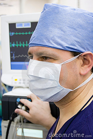 Anaesthetist with monitor