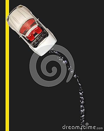 Analizzato con la caduta di olio - strada britannica
