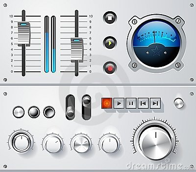 Analog controls interface elements set, vector