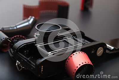Analog reflex camera with Roll film Stock Photo