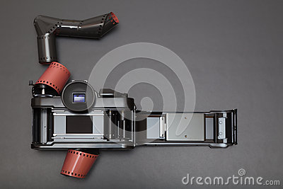 Analog reflex camera and roll film Stock Photo
