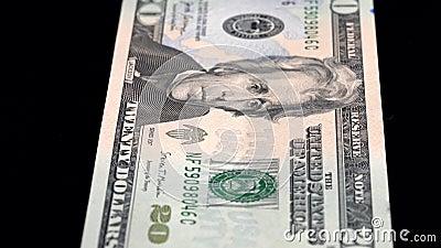 Analyse de la devise faible profondeur du champ USD 20 front clips vidéos