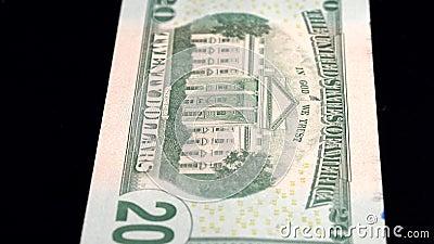 Analyse de la devise faible profondeur du champ USD 20 retour clips vidéos