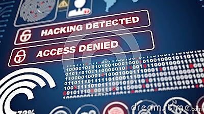 Analyse système Hacking Détection, réseau piraté par des virus malveillants, absence d'accès illustration de vecteur