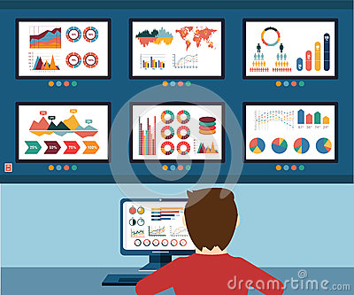 Analytic information, info graphic and development website statistic Vector Illustration