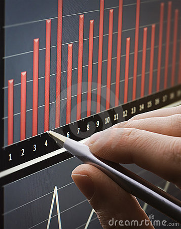 Analyzing chart on monitor