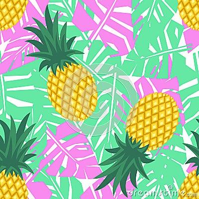 ananas avec le mod le sans couture de feuilles tropicales mod le mignon d 39 ananas de vecteur. Black Bedroom Furniture Sets. Home Design Ideas