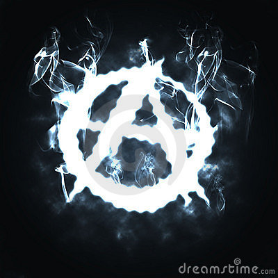Anarchy sign in the smoke