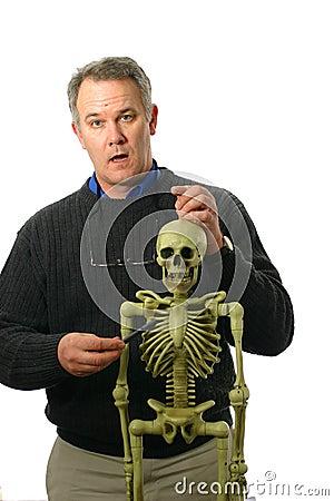 Anatomy Professor with skeleton