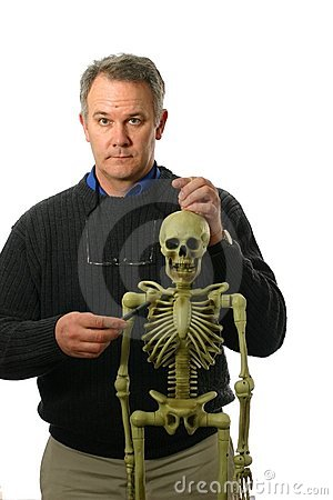 Anatomy Professor with skeleton