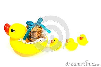 Anatra della gomma e del biscotto