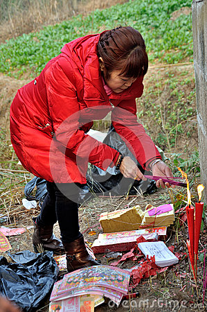 Ancestor veneration in China Editorial Stock Photo