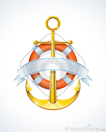 Free Anchor And Life Buoy With Ribbon Royalty Free Stock Photo - 22554715